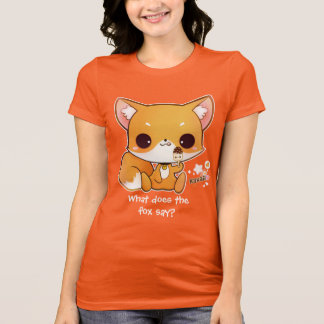 T-shirt Renard mignon de chibi avec la glace de kawaii