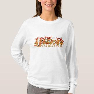 T-shirt Renne de chant de Noël de dames long dessus de