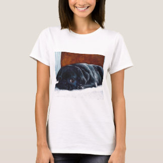 T-shirt Repos noir de chiot de carlin