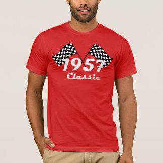 T-shirt Rétro 1957 drapeaux Checkered noirs et blancs