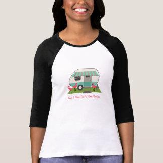 T-shirt Rétro campeur/remorque et flamants roses