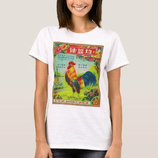 T-shirt Rétro coq vintage d'étiquette de pétard de kitsch