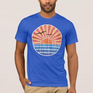 T-shirt Rétro coucher du soleil d'océan