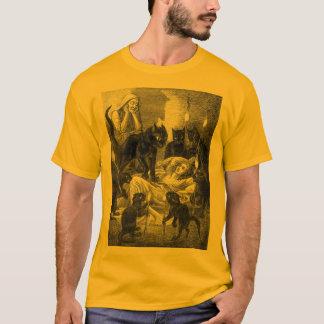 T-shirt Rétro dessin de partie de chat noir