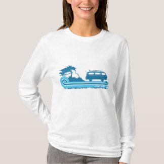 """T-shirt Rétro dessus de surf de """"Longboard"""" en turquoise"""