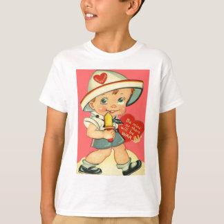 T-shirt Rétro garçon vintage avec la carte de Valentine