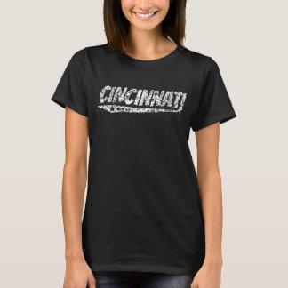 T-shirt Rétro logo affligé de Cincinnati