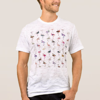 T-shirt Rétro motif floral lunatique Girly de flamants