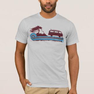 """T-shirt Rétro pièce en t de surf de """"Longboarder"""" en rouge"""