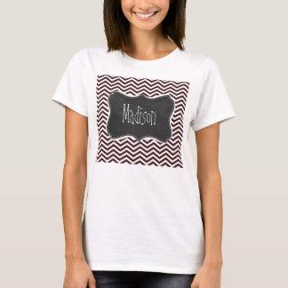 T-shirt Rétro regard de tableau ; Sienna foncé Chevron