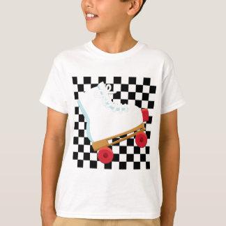 T-shirt Rétro Rollerskate vérifié noir et blanc