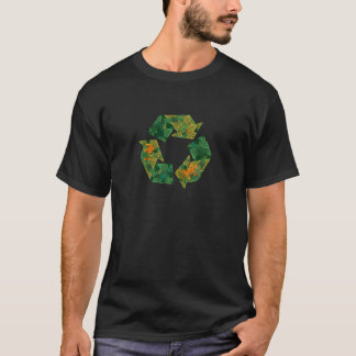 T-shirt Réutilisez le logo fait de feuilles