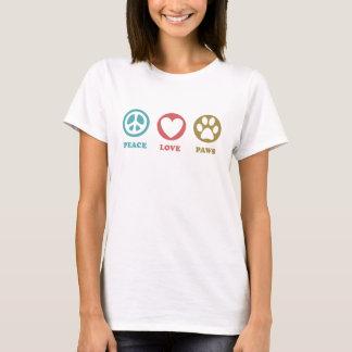 T-shirt rond de pattes d'amour de paix d'icônes