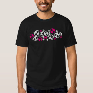 T-shirt rose/blanc d'emo de crâne