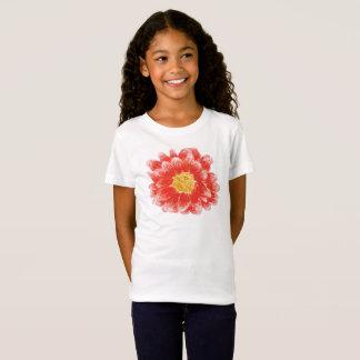 T-shirt rose de fleur de Chyrsanthemum de la fille