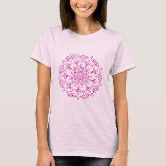 T-shirt rose de mandala de fleur de Lotus de henné