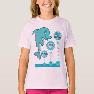 T-shirt rose d'enfants de dauphins d'amour de paix