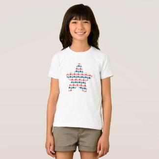 T-shirt Rose et étoile pointillée par bleu