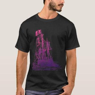T-shirt rose et pourpre de bateau de pirate
