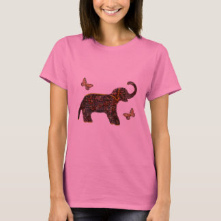 T-shirt rose exotique d'éléphant