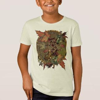 T-Shirt Roue de Wiccan avec le pentagramme