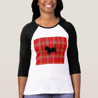 T-shirt rouge de chien de Terrier de plaid et