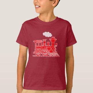 T-shirt rouge de train de locomotive à vapeur