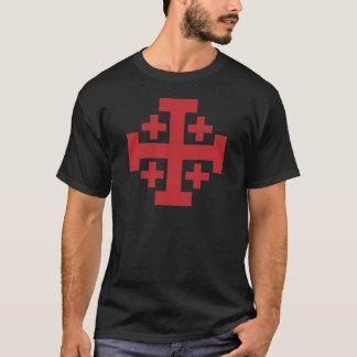 T-shirt Rouge simple de croix de Jérusalem
