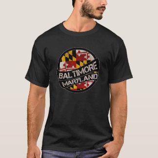 T-shirt Rouleau de grunge de drapeau de Baltimore le