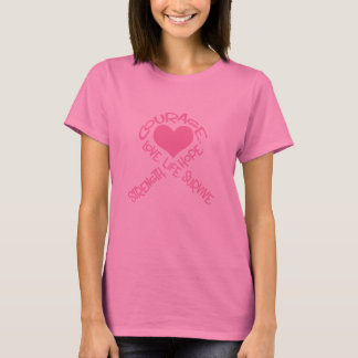 T-shirt Ruban rose douille de cancer du sein de mots de