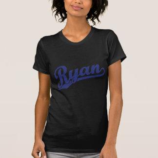 T-shirt Ryan a affligé le logo bleu de manuscrit