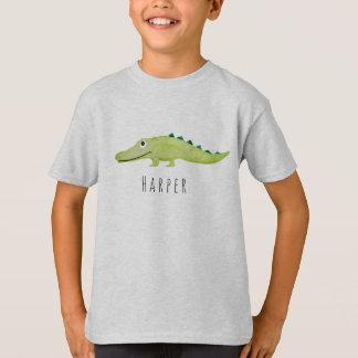 T-shirt Safari de crocodile de l'aquarelle du garçon frais