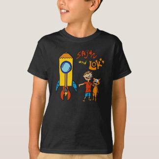 T-shirt Sagan et pièce en t noire de Rocket de Loki