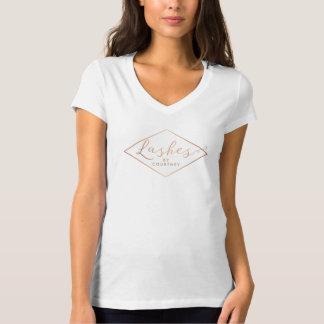 T-shirt Salon de mèche blanc/or rose personnalisé