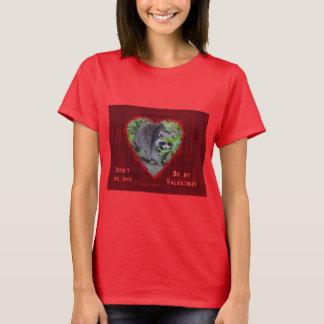 T-shirt Salutation de Saint-Valentin - raton laveur timide