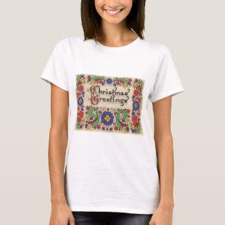T-shirt Salutations vintages de Noël avec la frontière