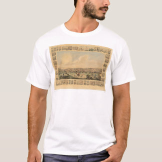 T-shirt San Francisco, carte panoramique 1860 (1162A) de