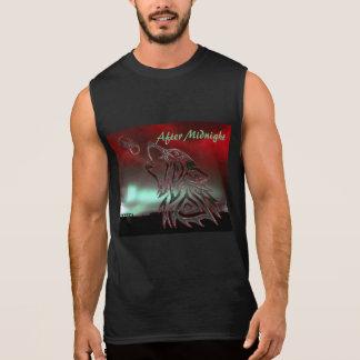 T-shirt Sans Manches Après chemise rouge de minuit de bande de logo