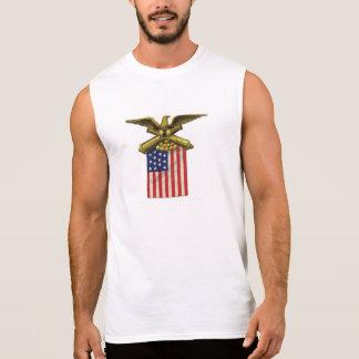 T-shirt Sans Manches Bleu blanc rouge de drapeau patriotique fier des