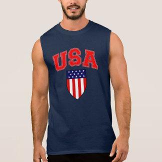 T-shirt Sans Manches Bouclier patriotique de drapeau américain des