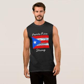 T-shirt Sans Manches Chemise de drapeau d'ouragan fort de Porto Rico