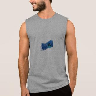T-shirt Sans Manches Dessus de réservoir d'aileron des hommes jaunes de