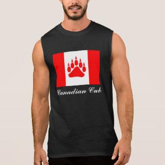 T-shirt Sans Manches Drapeau canadien de CUB de Canadien avec la patte
