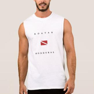 T-shirt Sans Manches Drapeau de piqué de scaphandre de Roatan Honduras