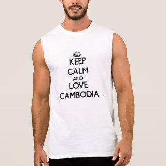 T-shirt Sans Manches Gardez le calme et aimez le Cambodge