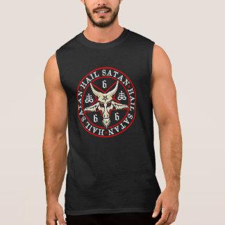 T-shirt Sans Manches Grêle occulte Satan Baphomet dans le pentagone