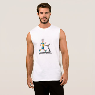 T-shirt Sans Manches Homme sur une forme physique de tapis roulant