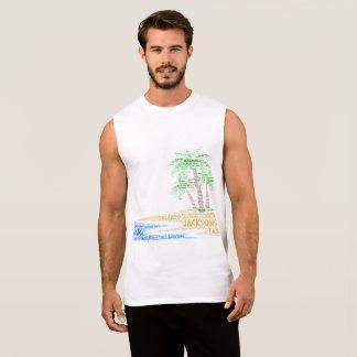 T-shirt Sans Manches Île tropicale illustrée avec des villes de la