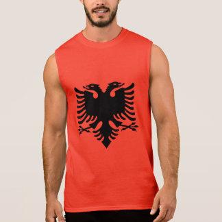 T-shirt Sans Manches Le double albanais de drapeau a dirigé Eagle sur