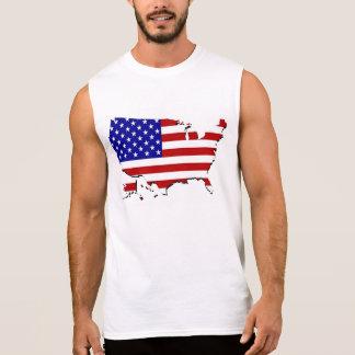 T-shirt Sans Manches Les Etats-Unis tracent et le drapeau